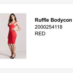 Red Bodycon Ruffled Strap Dress
